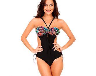 Trikini con Diseño Multicolor Negro
